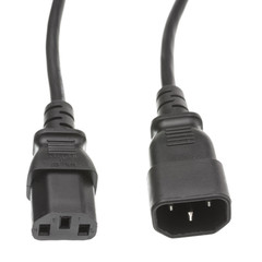 Power Cords Computer / Monitor Power Extension Cord, Black, C13 to C14, 10 Amp, 12 foot