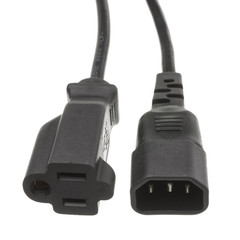 Power Cords Power Cord Adapter, Black, C14 to NEMA 5-15R, 10 Amp, 1 foot