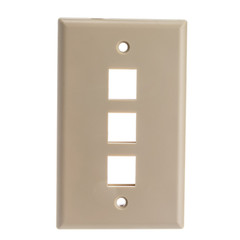 Wall Plates Keystone Wall Plate, Beige, 3 Port, Single Gang