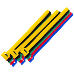Hook and Loop Straps and Ties Hook and Loop Cable Tie, Assortment 15pcs - 3/each color (Red, Blue, Green, Yellow, Black)
