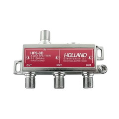 F Coaxial Splitters 2 Ghz Coaxial Cable Splitter, High Frequency Satellite/Broadband Splitter, 1 x F-Pin female input & 3 x F-Pin female output, DC passing on all output ports.