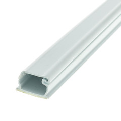 Cable Management 1.25 inch Surface Mount Cable Raceway, White, Straight 6 foot Section