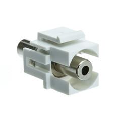 Keystones Keystone Insert, White, Recessed 3.5mm Stereo Female Coupler