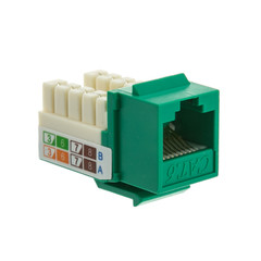 Keystones Cat6 Keystone Jack, Green, RJ45 Female to 110 Punch Down