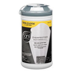 Disinfectant Sprays & Cleaners Case of 6 - Sani Professional Disinfecting Multi-Surface Wipes, 7.5 x 5.4, 200/Canister