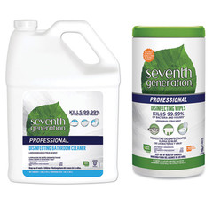 Disinfectant Wipes Seventh Generation Disinfecting Bathroom Cleaner, Lemongrass Citrus, 1 gal Bottle, and Case of 6 - Seventh Generation Professional Disinfecting Multi-Surface Wipes, 8 x 7, Lemongrass Citrus, 70/Canister