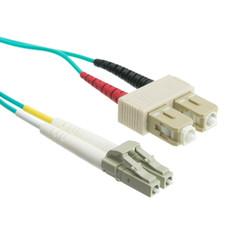 Multimode Aqua 10 Gig Fiber Optic 50/125 10 Gigabit Aqua LC/SC OM3 Multimode Duplex Fiber Optic Cable, 50/125, 7 meter (22.9 foot)
