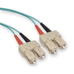 Multimode Aqua 10 Gig Fiber Optic 50/125 10 Gigabit Aqua SC/SC OM3 Multimode Duplex Fiber Optic Cable, 50/125, 5 meter (16.5 foot)
