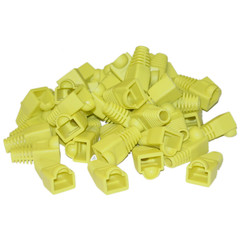 CAT 5 Cable Bulk RJ45 Strain Relief Boots, Yellow, 50 Pieces Per Bag