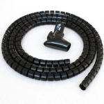 5ft Split Loom Cable Wrap, Black, 30mm diameter, Cable Management Wraps with Tool